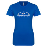 Next Level Ladies SoftStyle Junior Fitted Royal Tee-Football Graphic