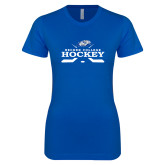 Next Level Ladies SoftStyle Junior Fitted Royal Tee-Hockey Graphic