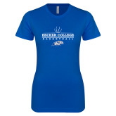 Next Level Ladies SoftStyle Junior Fitted Royal Tee-Basketball Graphic