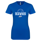 Next Level Ladies SoftStyle Junior Fitted Royal Tee-Volleyball Graphic