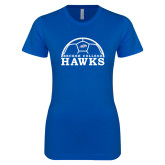 Next Level Ladies SoftStyle Junior Fitted Royal Tee-Soccer Graphic