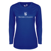 Ladies Syntrel Performance Royal Longsleeve Shirt-Shield w/ Becker College