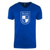 Next Level V Neck Royal T Shirt-Becker College Shield