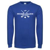 Royal Long Sleeve T Shirt-Field Hockey Graphic
