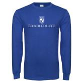 Royal Long Sleeve T Shirt-Shield w/ Becker College