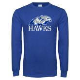 Royal Long Sleeve T Shirt-Hawks Logo