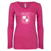 ENZA Ladies Hot Pink Long Sleeve V Neck Tee-Becker College Shield