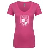 Next Level Ladies Junior Fit Ideal V Pink Tee-Becker College Shield