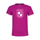 Youth Cyber Pink T Shirt-Becker College Shield
