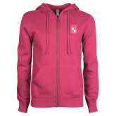ENZA Ladies Fuchsia Fleece Full Zip Hoodie-Becker College Shield