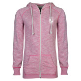 ENZA Ladies Hot Pink Marled Full Zip Hoodie-Becker College Shield