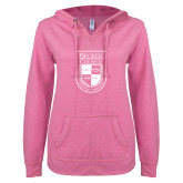 ENZA Ladies Hot Pink V Notch Raw Edge Fleece Hoodie-Becker College Shield