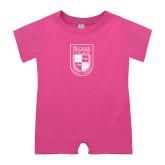 Bubble Gum Pink Infant Romper-Becker College Shield