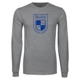 Grey Long Sleeve T Shirt-Becker College Shield