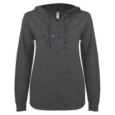 ENZA Ladies Dark Heather V Notch Raw Edge Fleece Hoodie-Primary Mark Glitter Graphite Soft Glitter