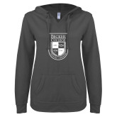 ENZA Ladies Dark Heather V Notch Raw Edge Fleece Hoodie-Becker College Shield