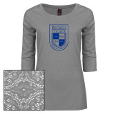 Ladies Grey Heather Lace 3/4 Sleeve Tee-Becker College Shield