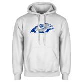 White Fleece Hoodie-Hawk Head