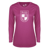 Ladies Syntrel Performance Raspberry Longsleeve Shirt-Becker College Shield