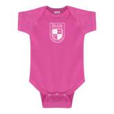 Fuchsia Infant Onesie-Becker College Shield