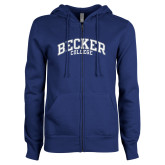 ENZA Ladies Royal Fleece Full Zip Hoodie-Becker College