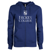ENZA Ladies Royal Fleece Full Zip Hoodie-Shield w/ Becker College Stacked