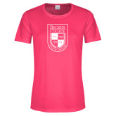 Ladies Performance Hot Pink Tee-Becker College Shield