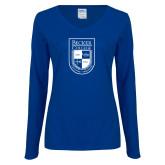 Ladies Royal Long Sleeve V Neck Tee-Becker College Shield