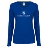 Ladies Royal Long Sleeve V Neck Tee-Shield w/ Becker College