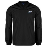 V Neck Black Raglan Windshirt-Hawk Head