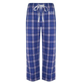 Royal/White Flannel Pajama Pant-Becker College Stacked