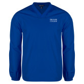 V Neck Royal Raglan Windshirt-Becker College Stacked