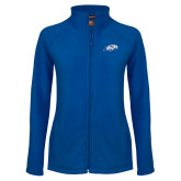 Ladies Fleece Full Zip Royal Jacket-Hawk Head