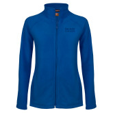Ladies Fleece Full Zip Royal Jacket-Becker College Stacked