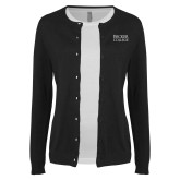 Ladies Black Cardigan-Becker College Stacked