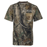 Realtree Camo T Shirt w/Pocket-Becker College Stacked