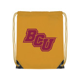Nylon Gold Drawstring Backpack-BCU