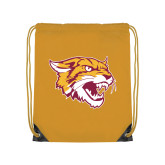 Gold Drawstring Backpack-Wildcat Head