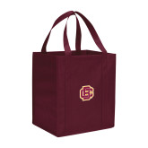 Non Woven Maroon Grocery Tote-Primary Mark