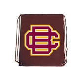 Nylon Maroon Drawstring Backpack-BC Logo
