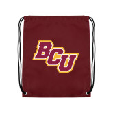 Nylon Maroon Drawstring Backpack-BCU