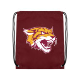 Nylon Maroon Drawstring Backpack-Wildcat Head
