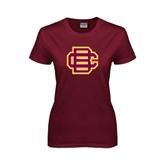 Ladies Maroon T Shirt-BC Logo