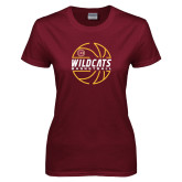 Ladies Maroon T Shirt-Basketball In Ball Design