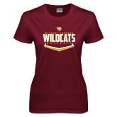 Ladies Maroon T Shirt-Baseball Abstract Plate Design