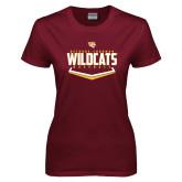 Ladies Maroon T Shirt-Baseball Abstract Plate Design
