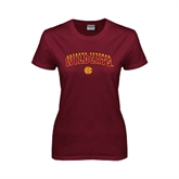 Ladies Maroon T Shirt-Arched Bethune-Cookman Wildcats