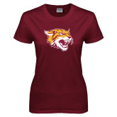 Ladies Maroon T Shirt-Wildcat Head