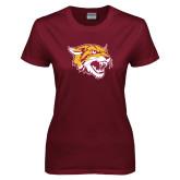 Ladies Maroon T Shirt-Wildcat Head