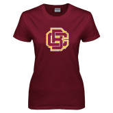 Ladies Maroon T Shirt-Primary Mark Distressed